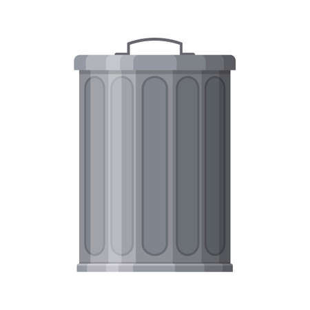 Metal trash bin isolated on white background. Garbage container with closed lid. Steel trash bucket. Vector illustration