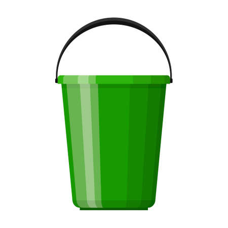 Green plastic bucket with handle in flat design isolated on white background. House cleaning and gardening equipment. Household accessories. Vector illustration
