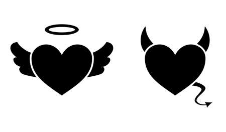 Heart with devil horns and a tail and heart with angel wings and halo isolated on white background, Devil love. Valentine Day concept, Vector illustration Vettoriali