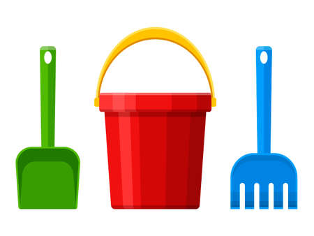 Red baby bucket, spade and rake isolated on white background. Toys set for children sandbox and playground, little bucket and shovel. Vector illustration