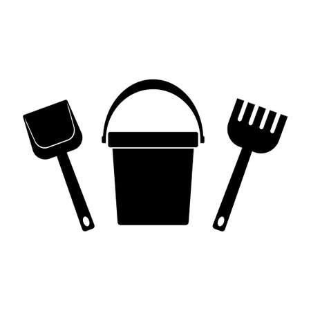 Baby bucket, spade and rake icons isolated on white background. Toys icon set for children sandbox and playground, little bucket and shovel. Vector illustration