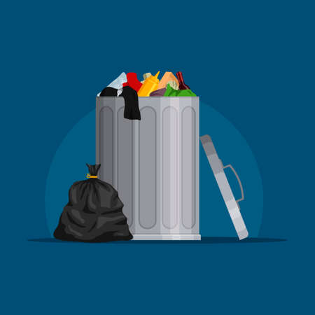 Steel garbage bin full of trash. Trash can with rubbish isolated on blue background. Wheelie bin and trash bag. Scene with pile of waste, Vector illustration