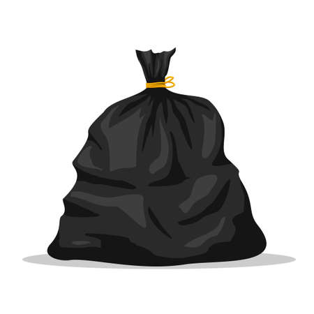 Plastic garbage bag icon isolated on white background. Black container for trash isolated on white. Garbage recycling and utilization equipment. Waste management. Vector illustration Illustration