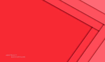 Red abstract background with shadows and color paper sheets. Modern empty banner space for text. 3d paper cut layers. Vector illustration backdrop template Illustration