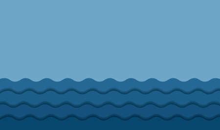 Blue abstract background wave paper layers with drop shadows. Modern empty water banner space for text. 3d paper cut layers. Vector illustration sea backdrop template Illustration