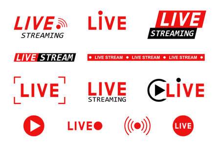 Set of live streaming icons. Red and black symbols and buttons of live streaming, broadcasting, online stream. Template for tv, shows, movies and live performances. Vector illustration Illustration