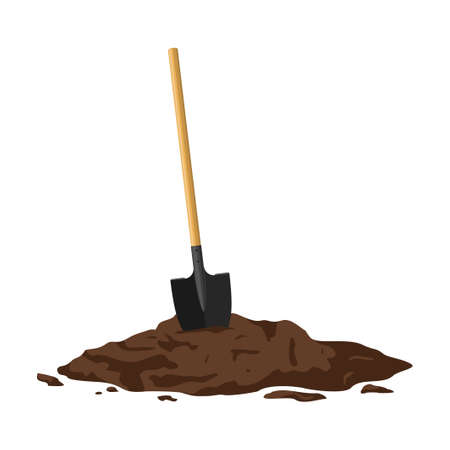 Shovel in a pile of soil isolated on white background. Work tool for outdoor activities, digging, gardening. Construction equipment in heap of dirt. Vector illustration Illustration