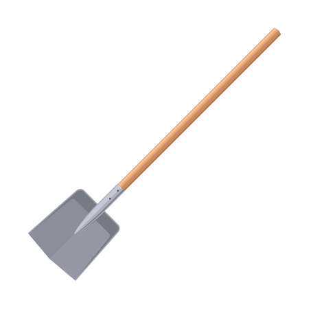 Shovel or spade isolated on white background. Work tool for outdoor activities, digging, gardening. Construction equipment. Vector illustration