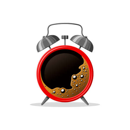 Red Alarm clock and coffee cup on white background. Good morning coffee wake up time concept. Vector illustration