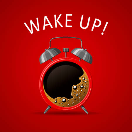 Red Alarm clock and coffee cup on red background. Good morning coffee wake up time concept. Vector illustration Illustration