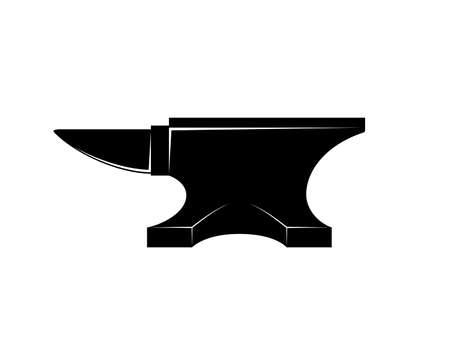 Black iron Anvil icon isolated on white background. Blacksmith anvil tool vector illustration Illustration