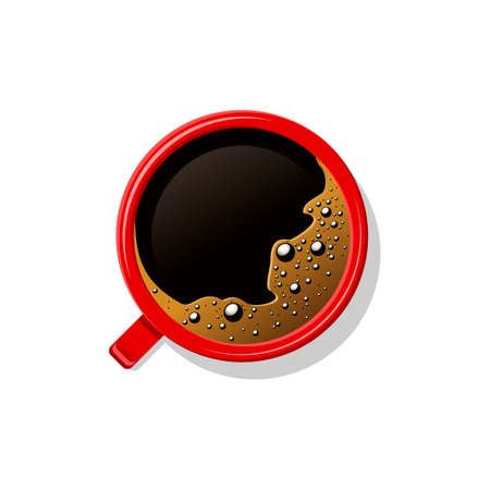 Top view black coffee in red cup isolated on white. Mug of brown coffee with foam and bubbles. Hot beverage, drink in white ceramic, porcelain cup. Vector illustration