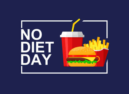 International No Diet Day Vector Illustration on blue background. Junk Food icon. Fast food, Suitable for greeting card, poster and banner