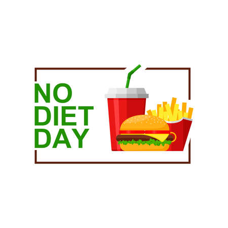 International No Diet Day Vector Illustration on white background. Junk Food icon. Fast food, Suitable for greeting card, poster and banner