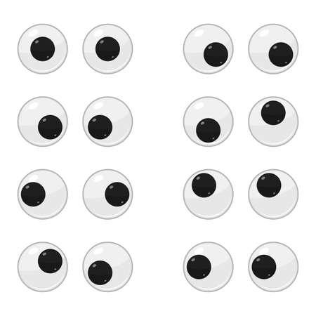 Cute plastic moving eyes for toys, dolls isolated on white background. Eyeballs cartoon set. Vector illustration