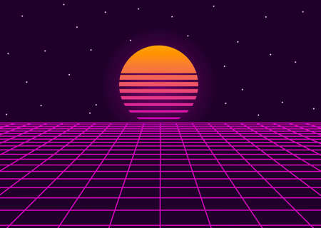 Futuristic retro landscape of the 80s. background. Neon geometric synthwave grid, light space with setting sun abstract cyberpunk design purple 80s disco fantastic. Vector illustration Illustration