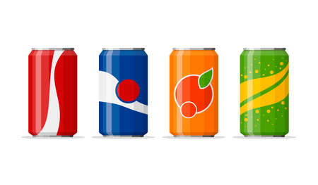 Soda in colored aluminum cans set icons isolated on white background. Soft drinks sign. Carbonated non-alcoholic water with different flavors. Drinks in colored packaging. Vector illustration Illustration