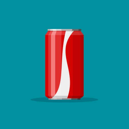 Cola soda in red aluminum can icon on blue background. Soft drink sign. Drink in packaging. Vector illustration Illustration