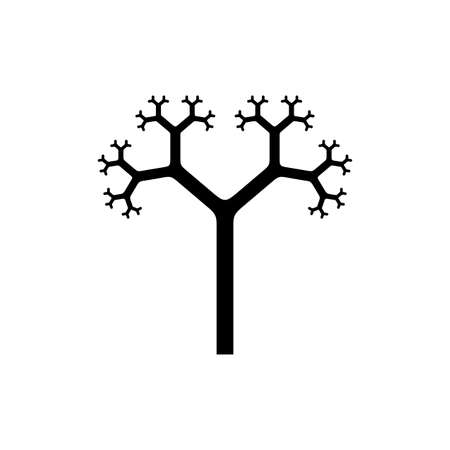 Tree silhouette icon with fractal branches isolated on white background. Pythagorean tree - generative art. Vector illustration
