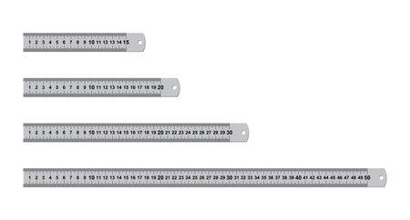 Metal rulers measuring tool set isolated on white background. 15, 20, 30, 50 centimeters rulers. Measure cm meter instrument, school metallic inch ruler metric tools geometric equipment. Vector
