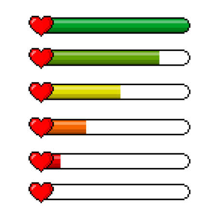 Pixel red hearts and a health scale color indicator isolated on white background. Pixel game 8 bit health heart life bar icons set. Gaming controller vector illustration