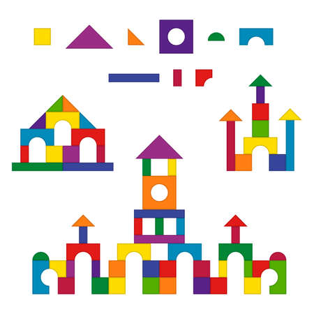 Multicolored wooden kids blocks toy details building kit set. Brick parts for the construction of a children tower, castle, house. Education toys for building and playing. Vector illustration Illustration