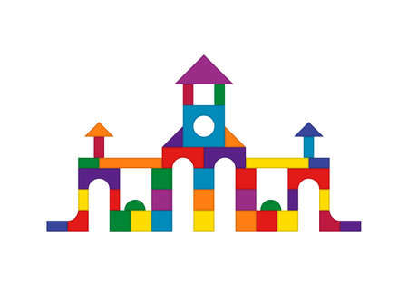 Multicolored wooden kids blocks toy details building kit. Brick parts for the construction of a children tower, castle, house. Education toys for building and playing. Vector illustration