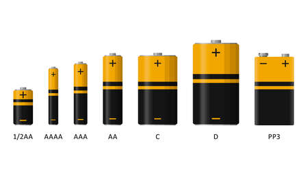 Alkaline battery set with different sizes isolated on white background. Rechargeable batteries flat modern style. Vector illustration