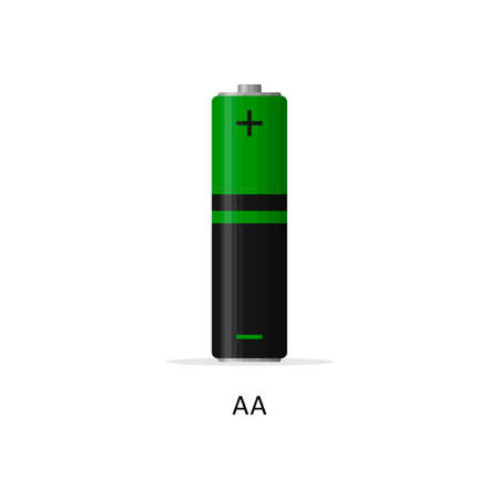 Alkaline battery AA isolated on white background. Rechargeable battery energy storage cells flat modern style. Vector illustration