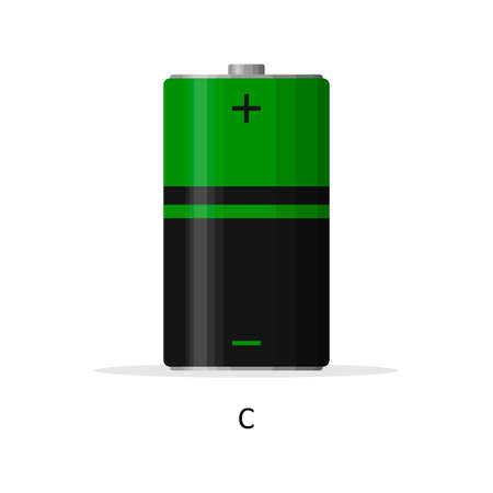 Alkaline battery C isolated on white background. Rechargeable battery energy storage cells flat modern style. Vector illustration