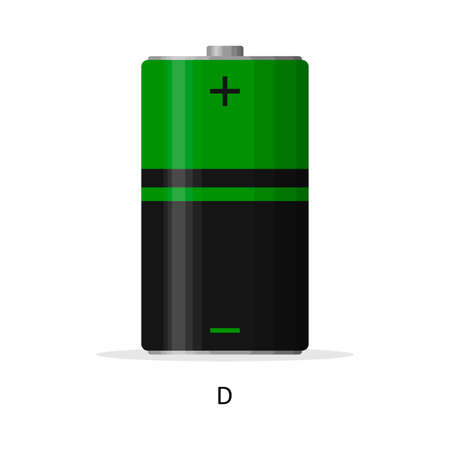 Alkaline battery D isolated on white background. Rechargeable battery energy storage cells flat modern style. Vector illustration Illustration