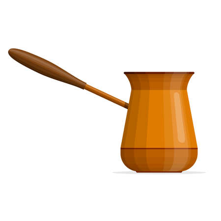 Coffee cezve isolated on white background.. Bowl with a handle for making coffee on the stove. Turkish pot of coffee. Hand-drawn coffee makers. Coffeepot ibrik icon Vector illustration