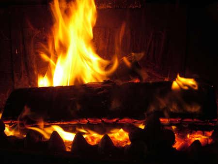 woodburner: winter fire Stock Photo