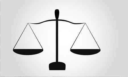 fair trial: Legal scales black silhouette Illustration