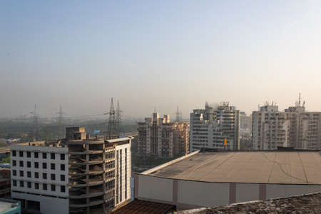 March 27, 2017, at Delhi NCR in India, High angle shot of buildings under construction.