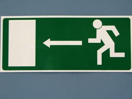 salida de emergencia: Inicio de sesi�n para la salida de emergencia Foto de archivo