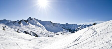 wintersport: panorama of mountains at Au in Austria Stock Photo