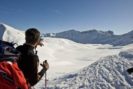 guide at a snowshoe tour in Austria photo