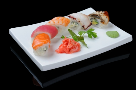 Seafood rolls with shrimp, octopus and fish photo