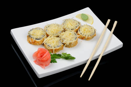 Six hot rolls with cheese and chopsticks photo