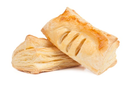Two pieces of puff pastry isolated on white