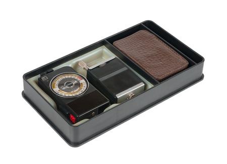 meter box: Medici�n de la exposici�n en la caja. Aislado en blanco