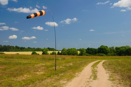 anemometer: Striped windsock shows direction of the wind