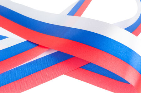 russian flag: Curl of Russian flag  isolated on white background