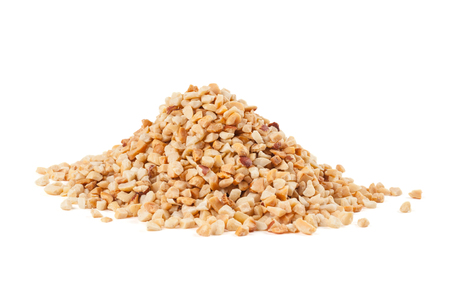 Heap of roasted crushed peanuts on white background