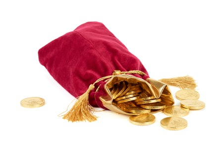 Red sack and golden euro over white photo
