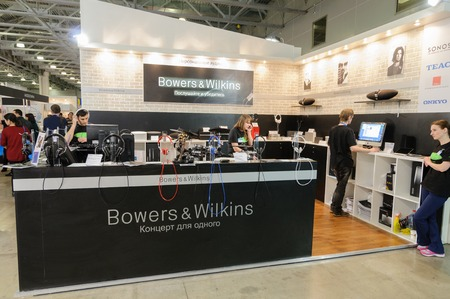 home audio: Crocus Expo, Moscow, Russia, April 11, 2014. Bowers and Wilkins booth