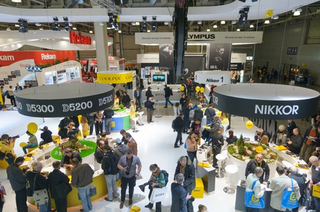 enthusiast: Crocus Expo, Moscow, Russia, April 11, 2014. Enthusiast and professional photographers visit Nikon stand.