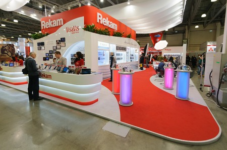 exhibition crowd: Crocus Expo, Moscow, Russia, April 11, 2014. Visitors at Rekam stand.