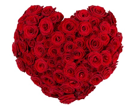 Bunch of red roses shaped in the form of heart photo